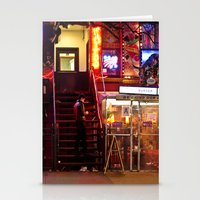 Neon Lights at Night - New York City Stationery Cards