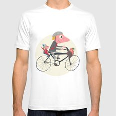 Biker Daddy White SMALL Mens Fitted Tee