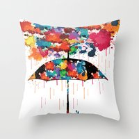 Rainbow rainy day Throw Pillow