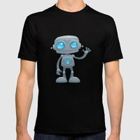 Waving Robot Mens Fitted Tee Black SMALL