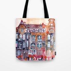 Apartment House in Poznan and orange umbrellas Tote Bag