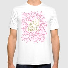 Wild at Heart – Pink & Gold Mens Fitted Tee White SMALL