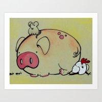 Pig Friends Art Print
