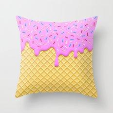 Strawberry Ice Cream Throw Pillow