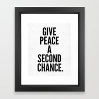 Give Peace a Second Chance. Framed Art Print