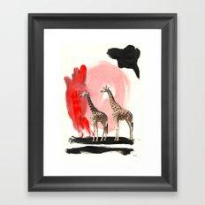 Paint the Blues Away Giraffes Framed Art Print
