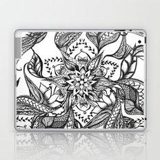 Modern black and white floral mandala illustration Laptop & iPad Skin
