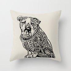 Polynesian English Bulldog Throw Pillow