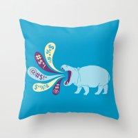 Hippopottymouth Throw Pillow