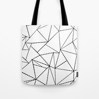 Abstract Dotted Lines Black and White Tote Bag