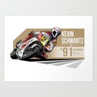 Kevin Schwantz - 1991 Ho… Art Print
