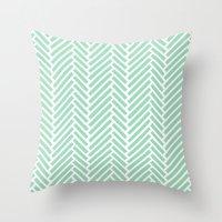 Herringbone Mint Zoom Throw Pillow