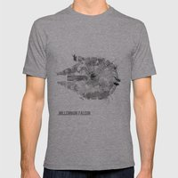 Star Wars Vehicle Millennium Falcon Mens Fitted Tee Athletic Grey SMALL
