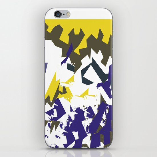 Decorative Gold and Blue Pattern with White iPhone & iPod Skin