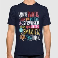 BRAVER, STRONGER, SMARTER Mens Fitted Tee Navy SMALL