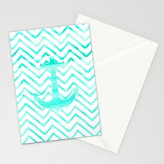 Turquoise watercolor nautical anchor chevron Stationery Cards