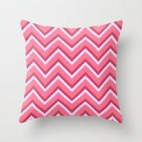 Pink Zig Zag Pattern Throw Pillow