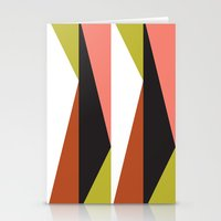 Pink, lime black triangle pattern (2015) Stationery Cards