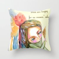 Trees are happy for no reason Osho quote inspirational words Throw Pillow