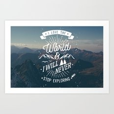 Inspirational Quote and Blue Mountains II Art Print