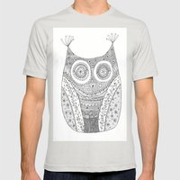 Owl Doodle Art Mens Fitted Tee Silver SMALL