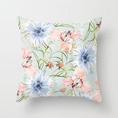 Pastel Spring Flowers Throw Pillow