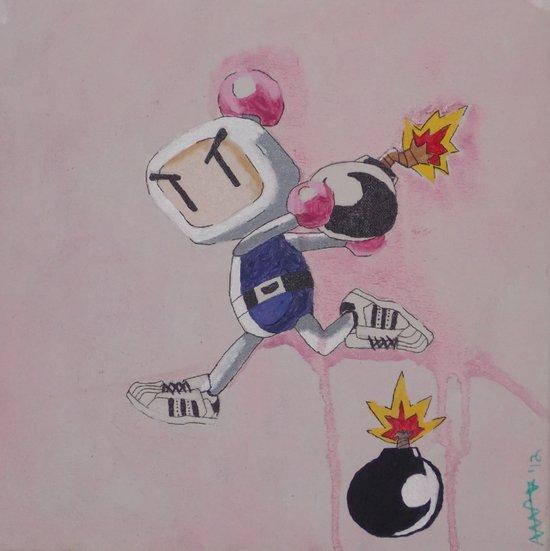 """Three Stripes"" Bomberman Art Print"