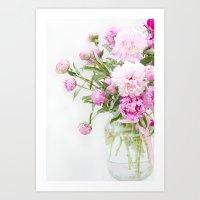 Shabby Chic Romantic Cottage Pink Peonies In Jar Art Print