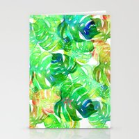 Tropical Leaf Print Stationery Cards