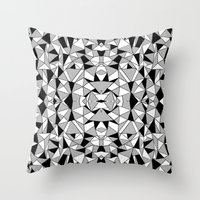 Ab Lines Tile with Black Blocks Throw Pillow