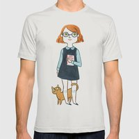 A girl and her cat Mens Fitted Tee Silver SMALL