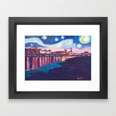 Starry Night in Dresden - Van Gogh Inspirations on River Elbe Framed Art Print