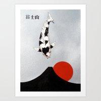 Mt Fuji Sunset Utsuri Mono Art Print