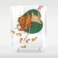 Girl and fish Shower Curtain