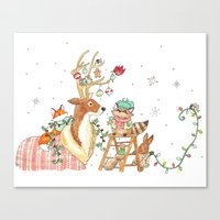 Woodland Winter Friends Canvas Print