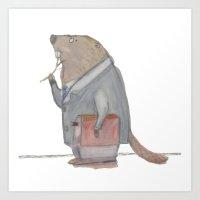 Dr Beaver Art Print