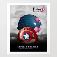 Berto: The Mental-issue pig as Captain America Art Print
