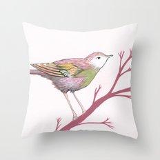 Peach Plum Pear Bird Throw Pillow