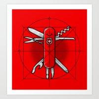 Vitruvian Swiss Knife Art Print