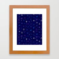 Dark sky with mystic signs Framed Art Print