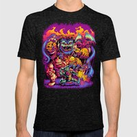 GHOSTS 'N' GOBLINS Mens Fitted Tee Tri-Black SMALL