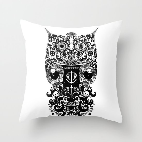 The Old Owl  - Black Throw Pillow