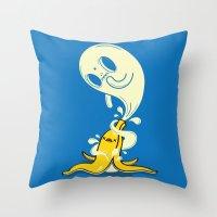 Banana Ghost Throw Pillow