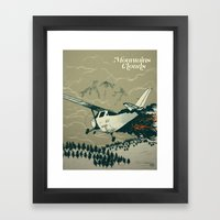 Mountains Hide in Clouds II - Tan Framed Art Print