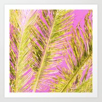 Tropical Palm Pink Yello… Art Print