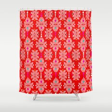 Stella in Red Pattern Shower Curtain