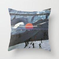 Night Skiing  Throw Pillow