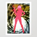 PowerWoman - Pink stripes sCrew 2 Art Print