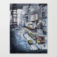 Time square - New York City - Illustration watercolor painting Canvas Print