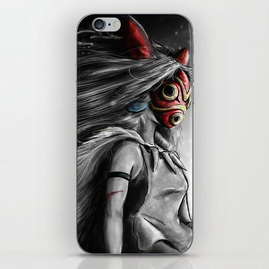 Miyazaki's Mononoke Hime Digital Painting the Wolf Princess Warrior Color Variation iPhone & iPod Skin